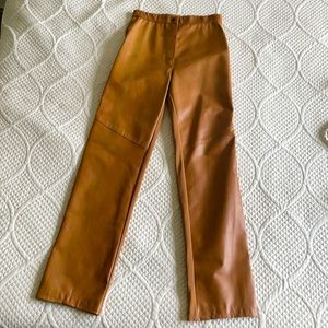 Suede leather & spandex back stretch pants